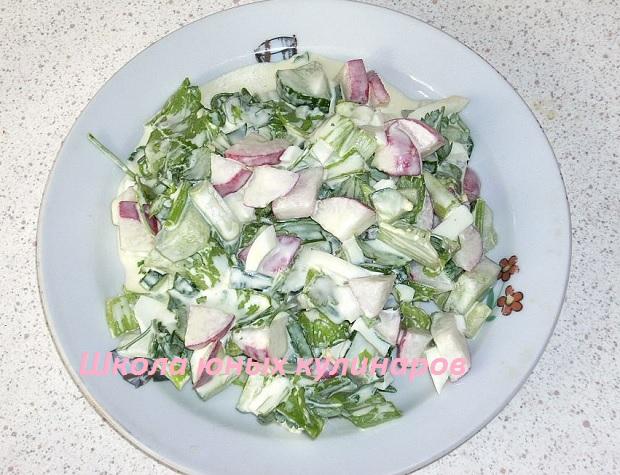 Простой салат из редиски и огурца с яйцами и зеленым луком-4