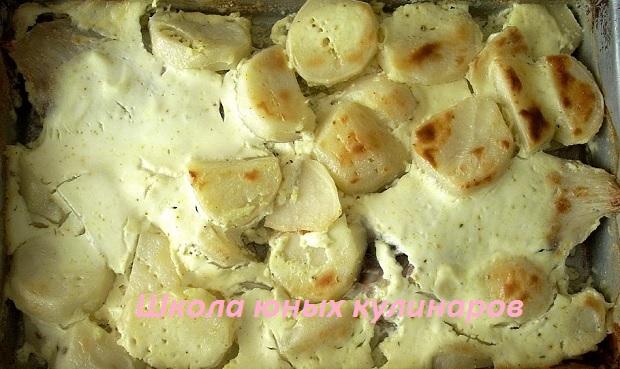 Рецепт тилапии, запеченной в сметане с картофелем