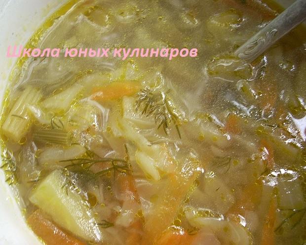 легкий капустный суп с сельдереем