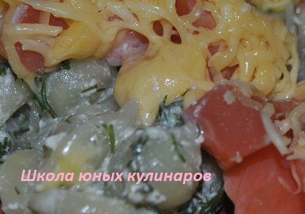 Простые макароны с лососем