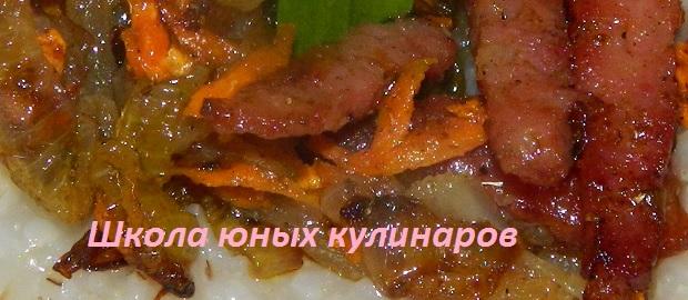 Простая жареная колбаса как зажарка к гарниру