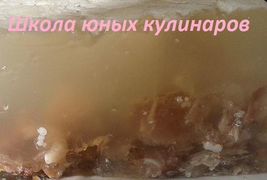 Простой студень, сваренный из свиных ножек с добавлением говядины