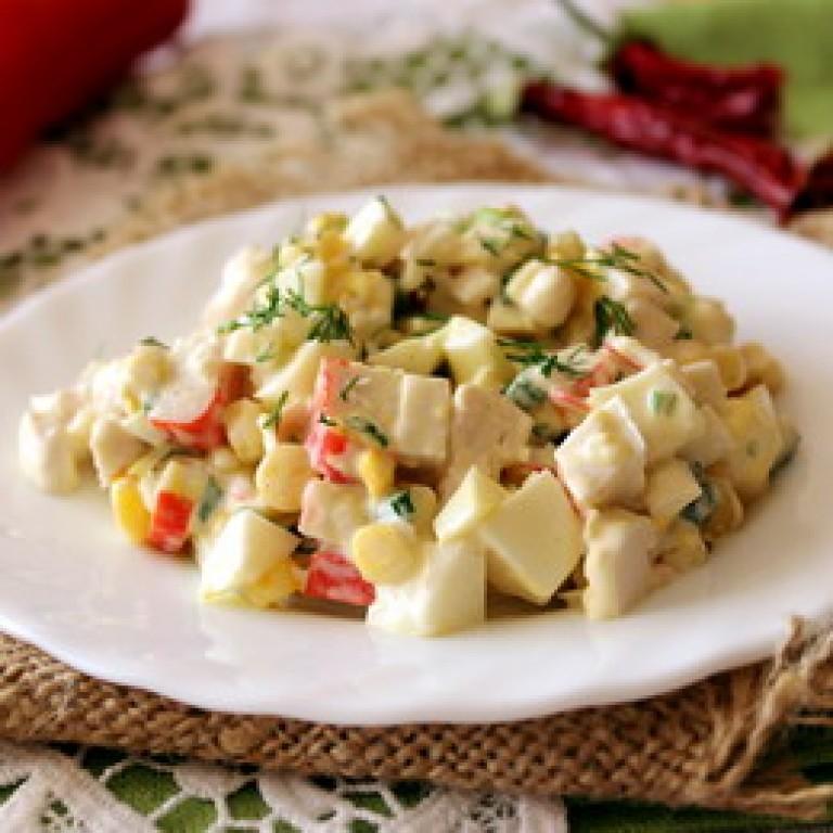 Салат курица кукуруза крабовые палочки рецепты
