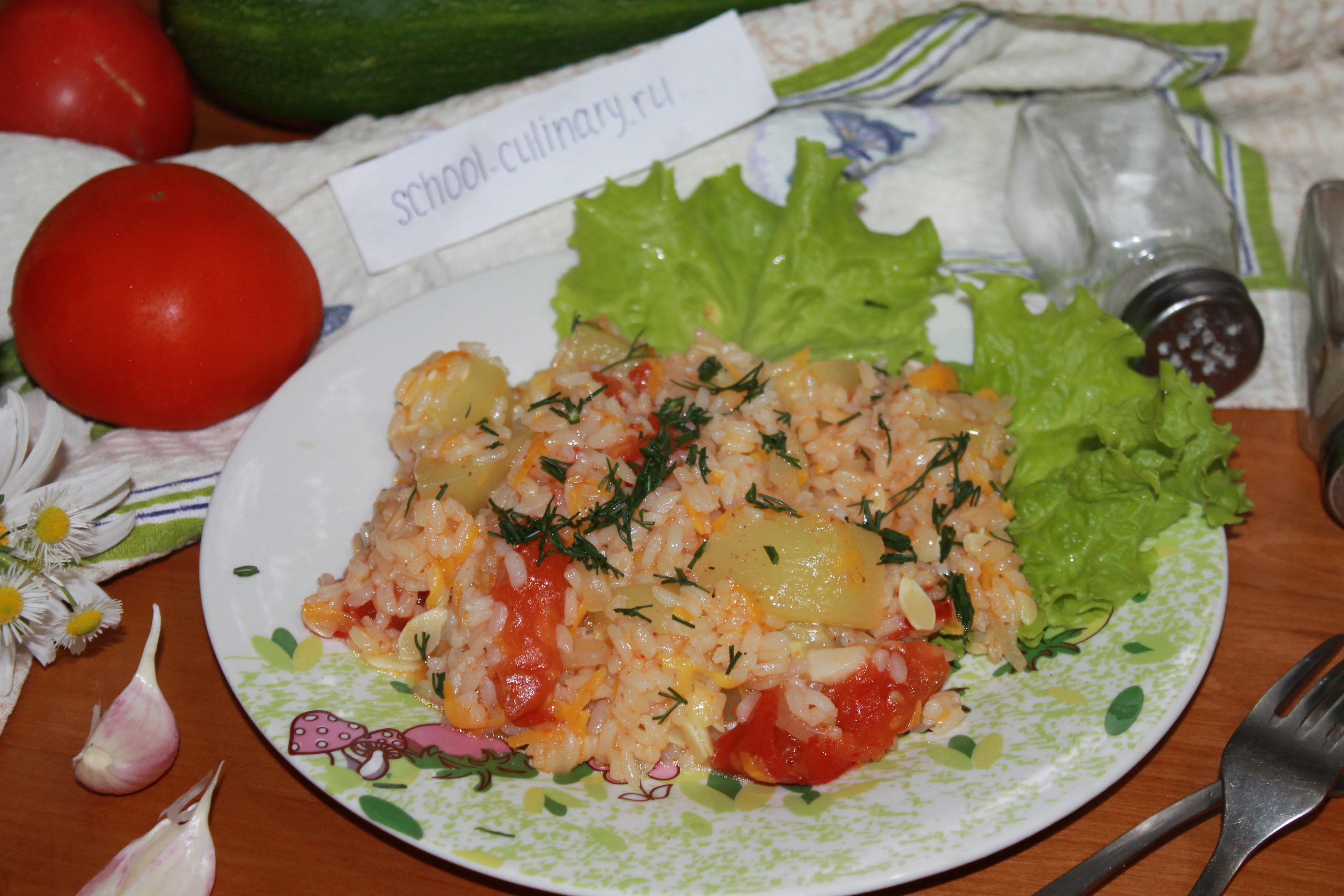 Готовим тушеные кабачки с рисом и помидорами