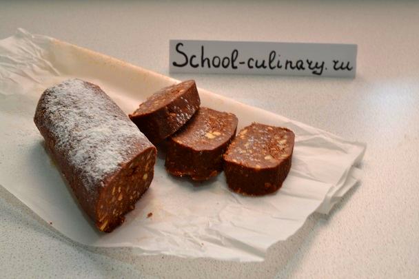 Как приготовить шоколадную салями с орехами