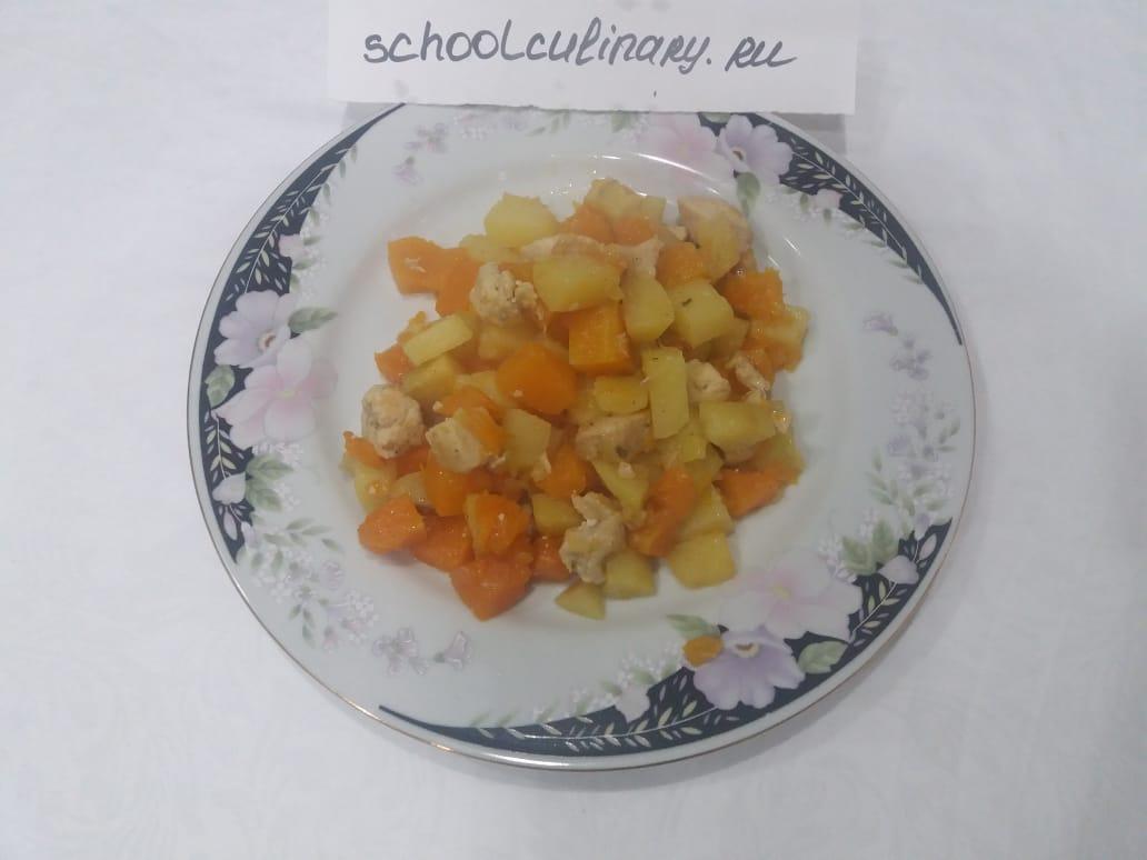 Тушёная тыква с картошкой и курицей