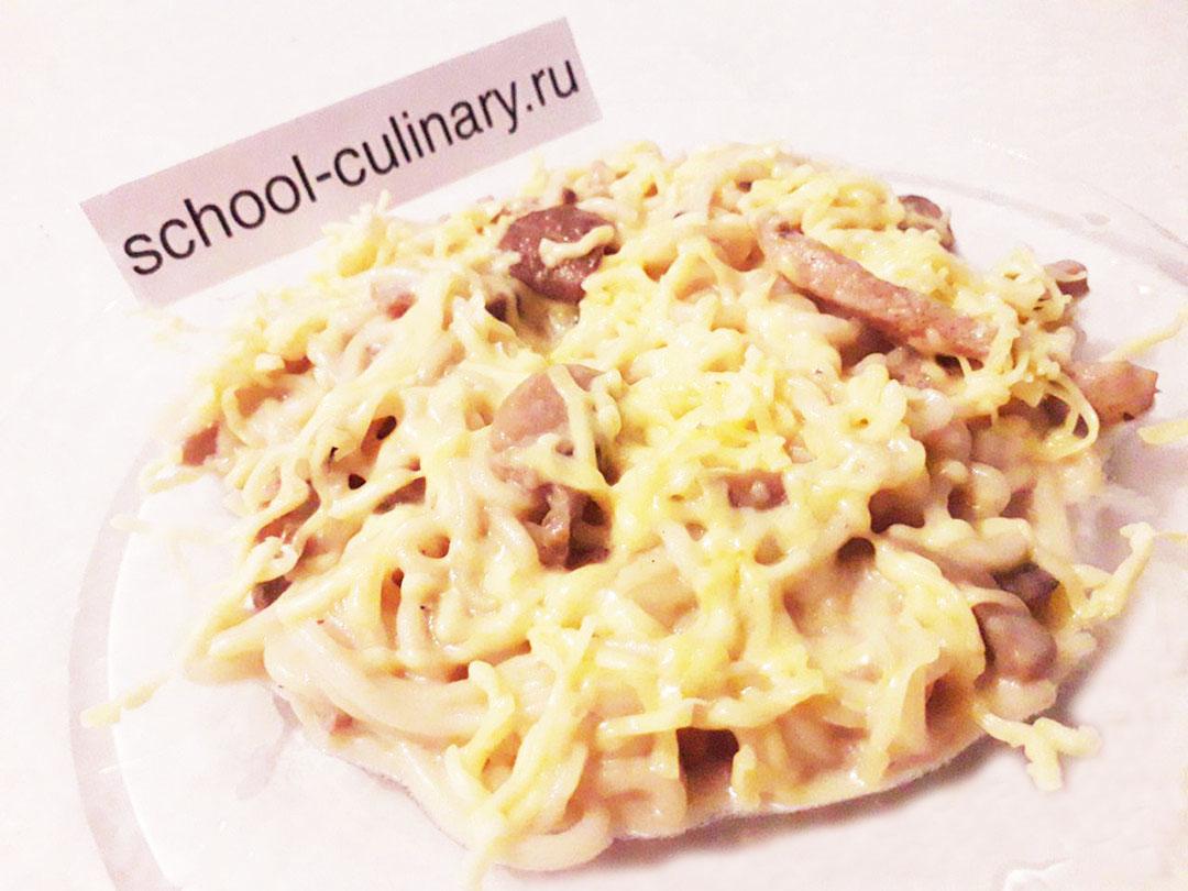 Спагетти с индейкой в сливочно-грибном соусе