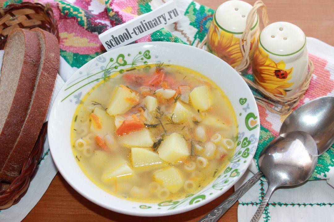Суп с макаронами без мяса