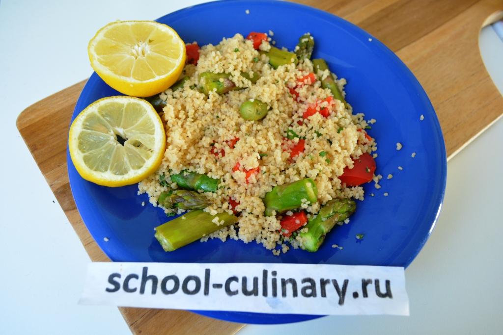 Салат из кускуса и спаржи