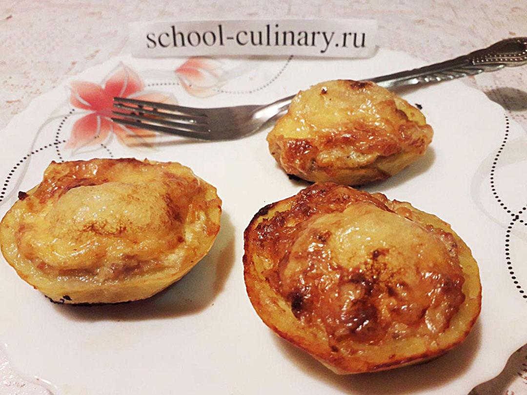 Фаршированный картофель с мясным фаршем и сыром
