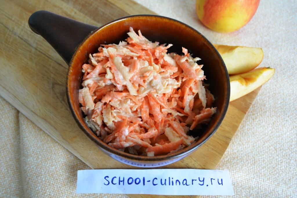 Витаминный салат из яблока и моркови