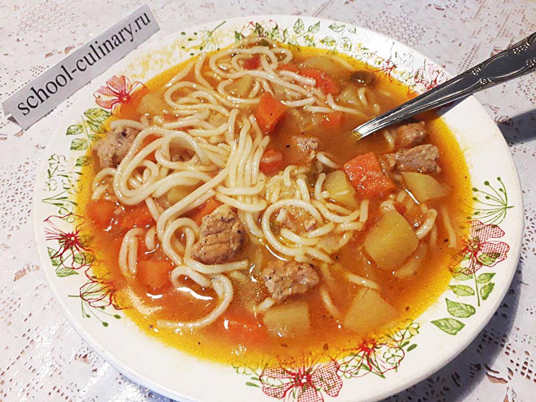 Лагман из свинины со спагетти