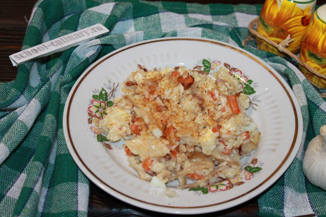 Салат с шампиньонами и рисом