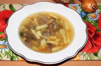Суп со свиной печенью