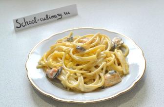 Спагетти с мидиями в сливочном соусе