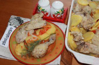 Куриное ассорти с овощами в духовке