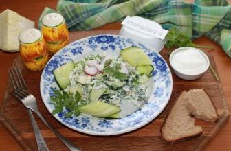 Салат с редисом и огурцом, капустой петрушкой и сметаной