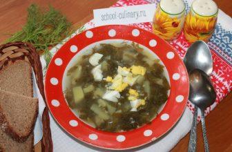 Суп из щавеля c яйцом, луком, картофелем и зеленью