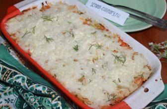 Запеканка с капустой рисом и фаршем