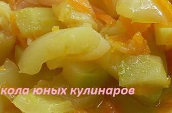 Простое овощное рагу в мультиварке с кабачками и болгарским перцем